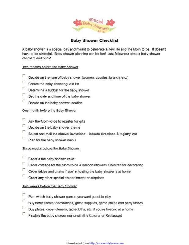 Baby Shower Checklist Templates  Free Templates In Doc Ppt Pdf  Xls