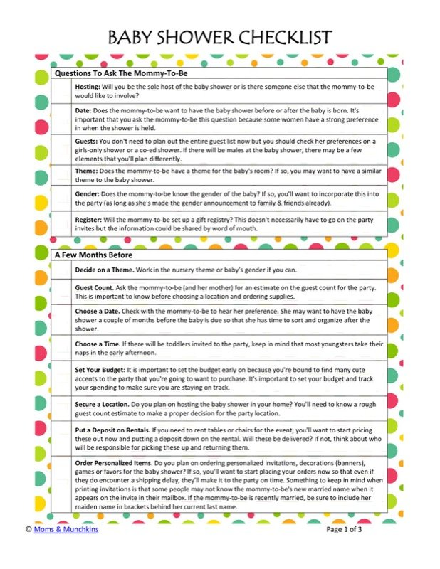 Baby Shower Registry Checklists Templates  Free Templates In Doc