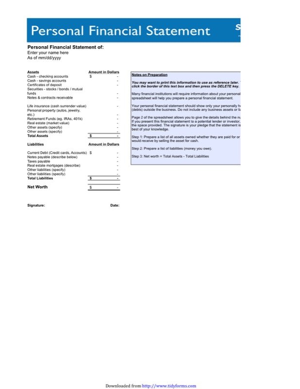 Personal Financial Statement Form  Financial Statement Forms Templates