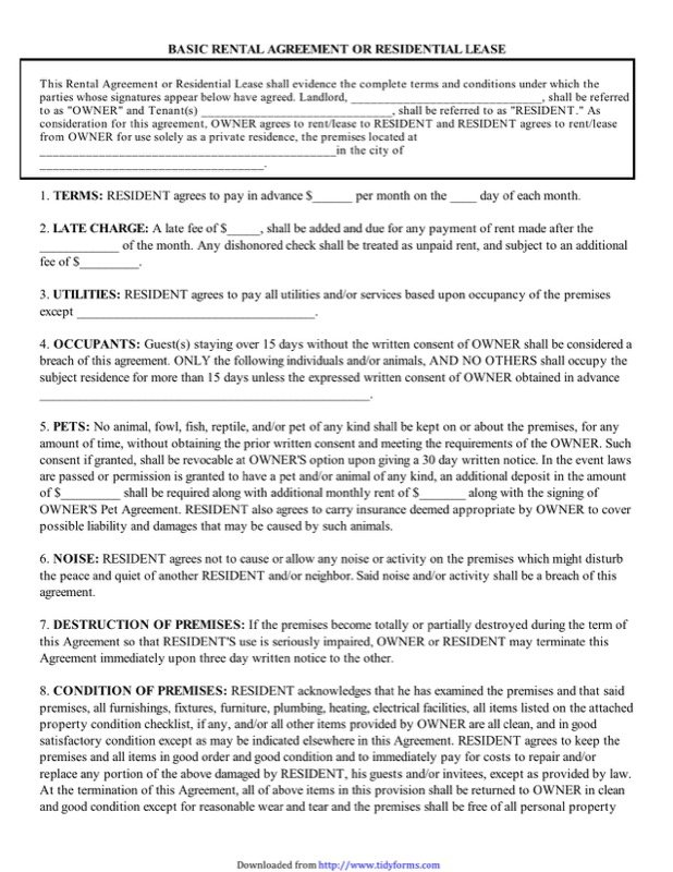 Basic Rental Agreement Or Residential Lease1  Free Lease Agreement Template Word