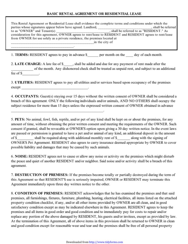 Basic Rental Agreement Templates  Free Templates In Doc Ppt Pdf  Xls