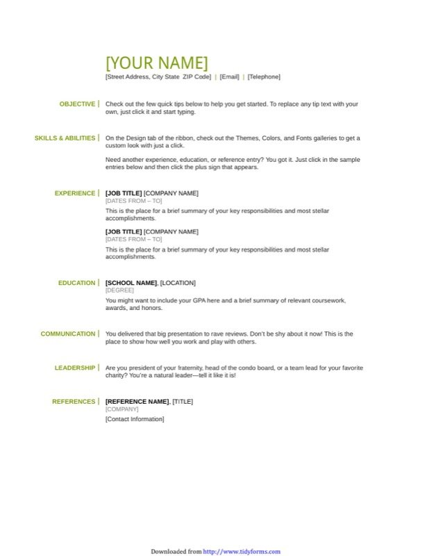 basic resume template - Job Resume Template Pdf
