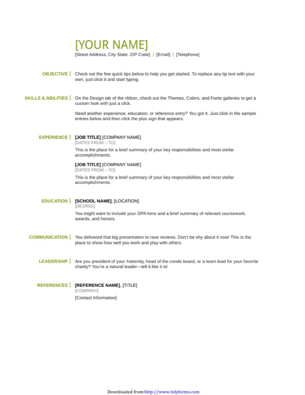 Basic Resume Template  Free Basic Resume Templates Download