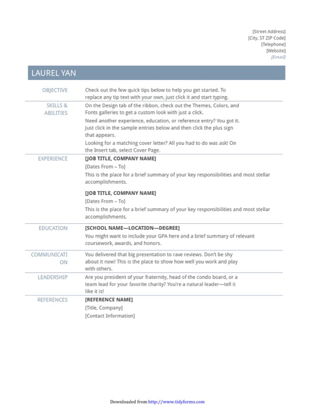 Basic Resume Template (Timeless Design)  Basic Resume Template