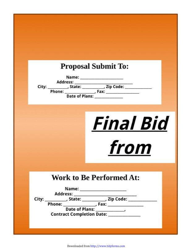 Bid Proposal Template 1  Bid Proposal Template Free
