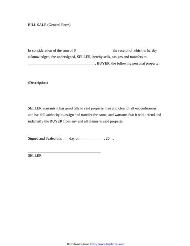 General Bill Of Sale Form  Free Template For Bill Of Sale