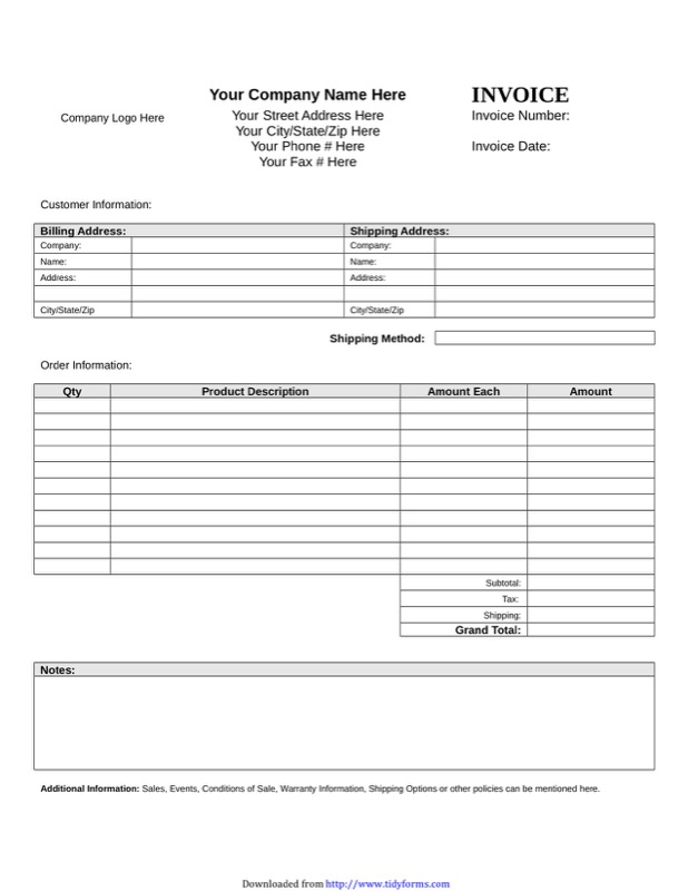 Blank Invoice Template  Free Templates In Doc Ppt Pdf  Xls