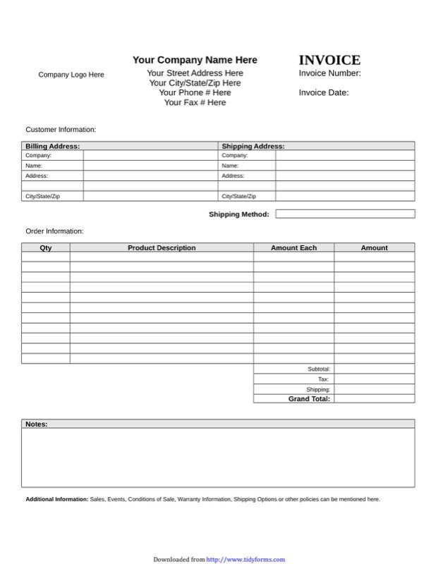 Blank Invoice Template Free Templates In DOC PPT PDF XLS - It invoice template