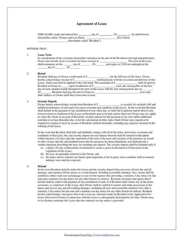 Blank Lease Agreement Templates   Free Templates In DOC, PPT, PDF U0026 XLS  Free Copy Of Lease Agreement
