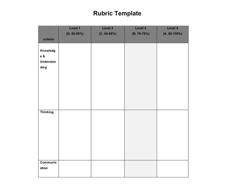Great Blank Rubric Template Images  Resume Ideas  BayaarInfo