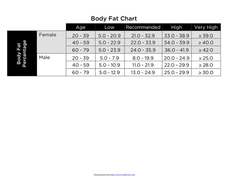 Body Fat Chart Templates  Free Templates In Doc Ppt Pdf  Xls