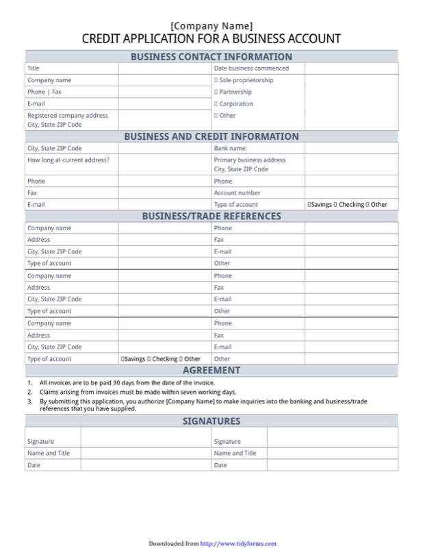 Credit Application For A Business Account  Contact Information Form Template