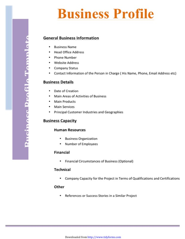 Business Profile Template  Free Templates In Doc Ppt Pdf  Xls