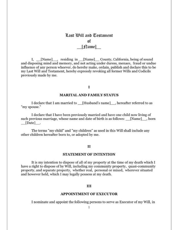 California Last Will And Testament Form  Free Templates In Doc Ppt
