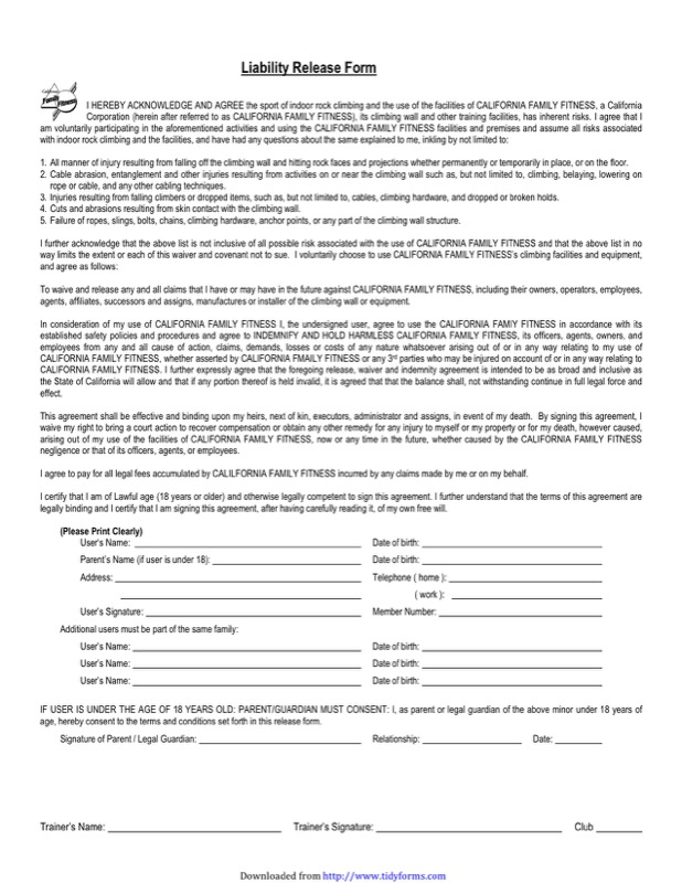 Liability Release Form. View More