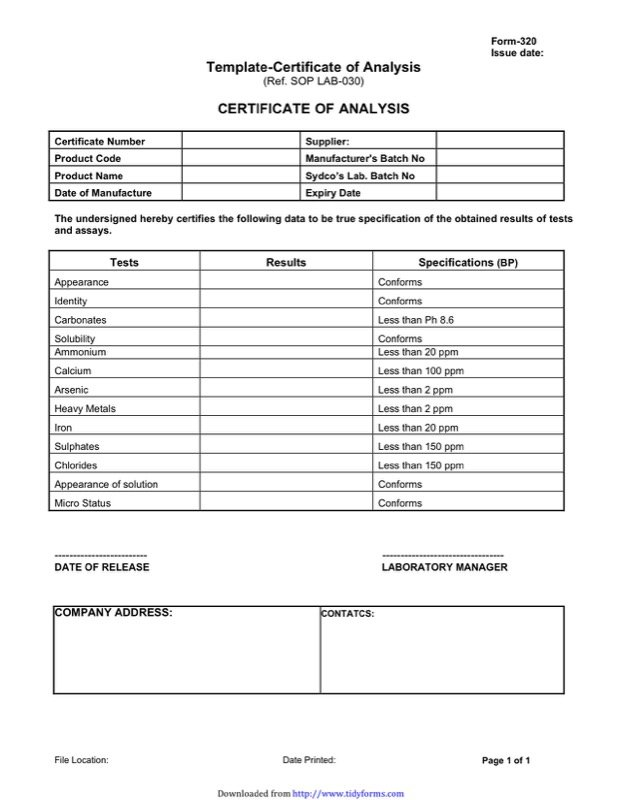 Certificate Of Analysis Templates  Free Templates In Doc Ppt Pdf