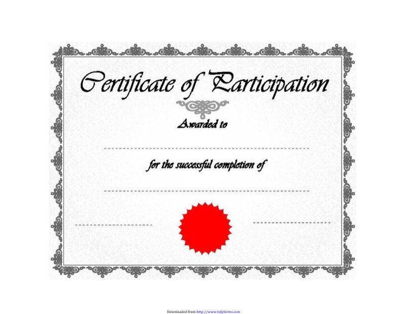 Certificate Of Participation 1  Certificate Of Participation Free Template