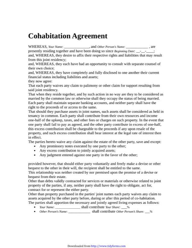 Cohabitation Agreement Templates  Free Templates In Doc Ppt Pdf  Xls