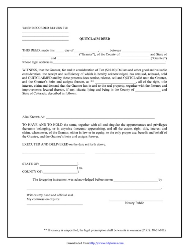 Colorado Quitclaim Deed Form  Free Templates In Doc Ppt Pdf  Xls