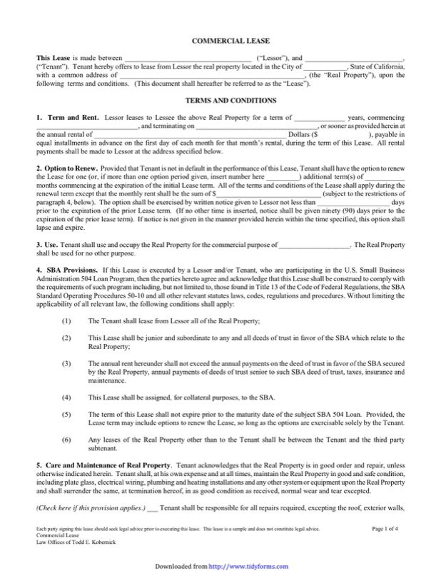 Commercial Lease  Property Lease Agreement Template Free
