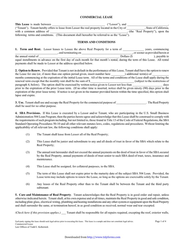 Commercial Lease  Free Commercial Lease Agreement Template Download