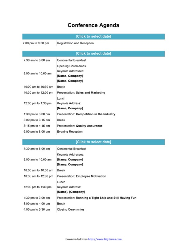 Conference Agenda Template  Free Templates In Doc Ppt Pdf  Xls