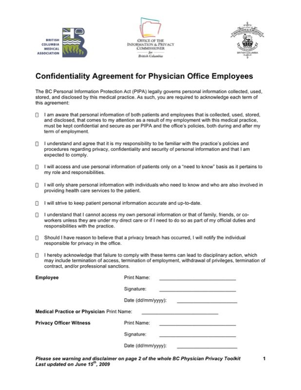 Medical Confidentiality Agreement Templates  Free Templates In Doc