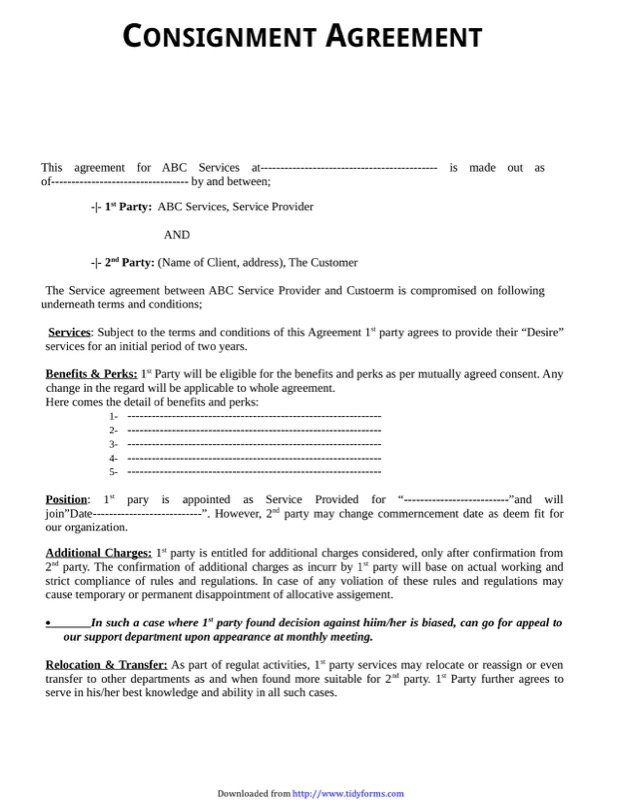 Consignment Agreement Template 2  Free Consignment Agreement