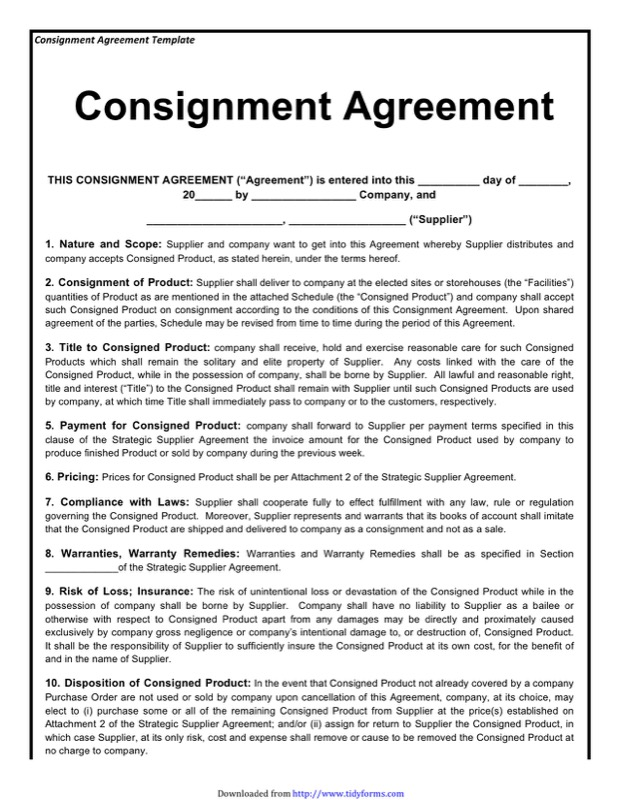 Consignment Agreement Template  Free Templates In Doc Ppt Pdf  Xls