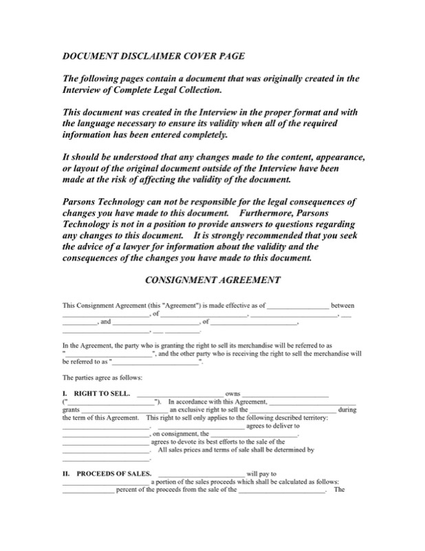 Consignment Contract  Free Consignment Contract Template