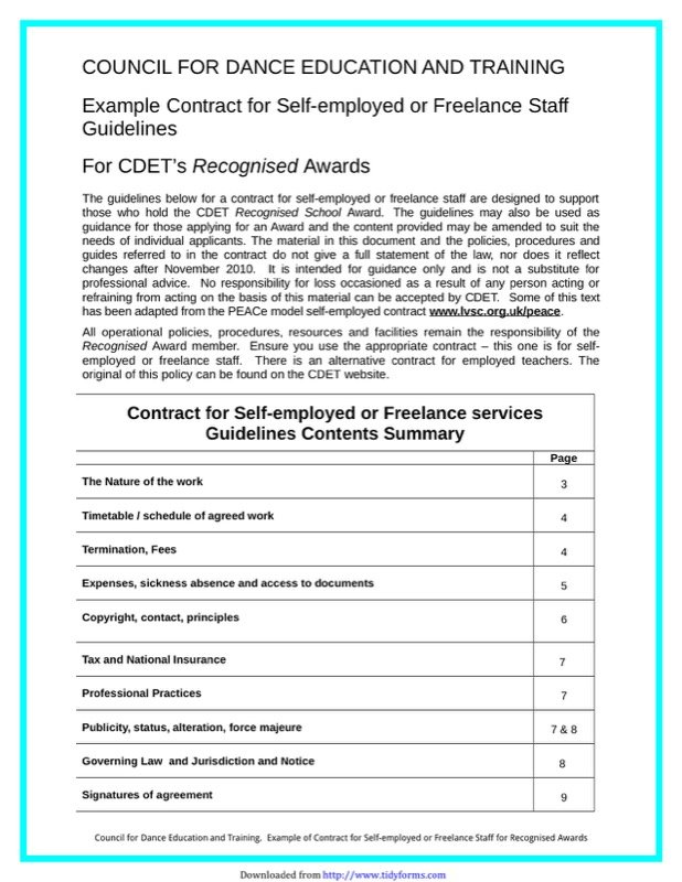Contract for Self-Employed or Freelance Staff Guidelines