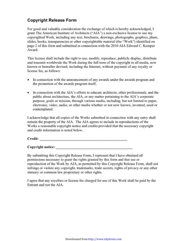 Copyright Release Form Templates  Free Templates In Doc Ppt Pdf  Xls