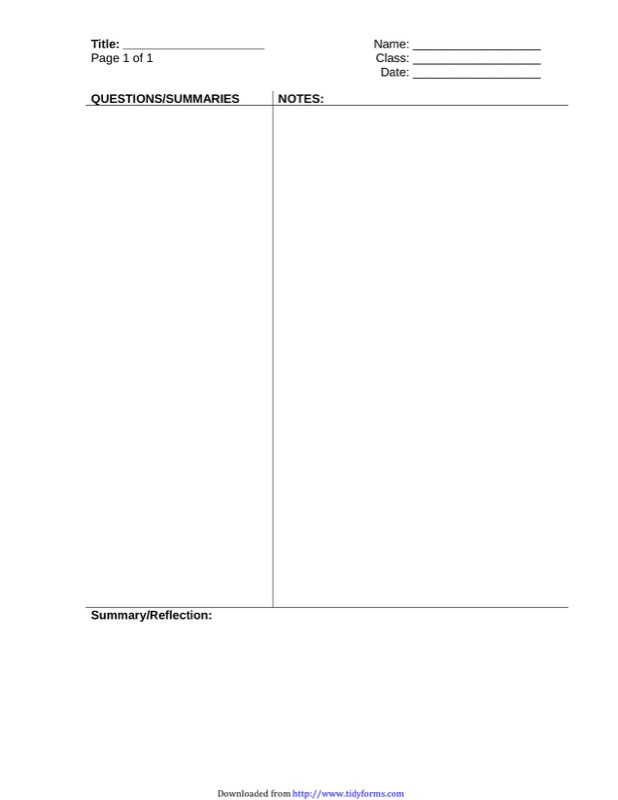 Cornell notes template free templates in doc ppt pdf xls cornell notes template 1 pronofoot35fo Image collections