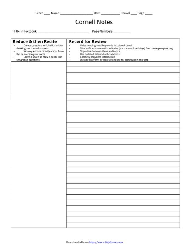 Cornell notes template free templates in doc ppt pdf xls cornell notes template 2 pronofoot35fo Image collections