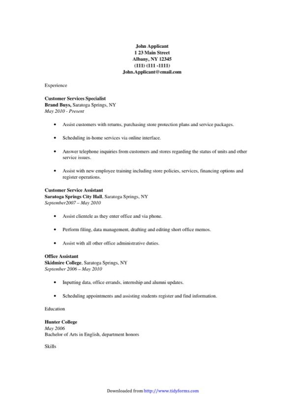 Customer Service Resume Template  Free Templates In Doc Ppt Pdf  Xls