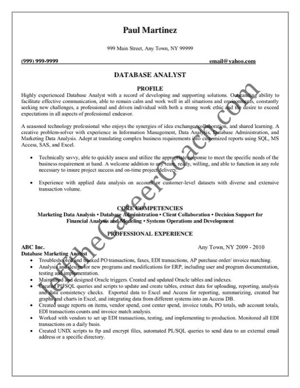 Database Analyst Sample Resume 2  Database Analyst Resume