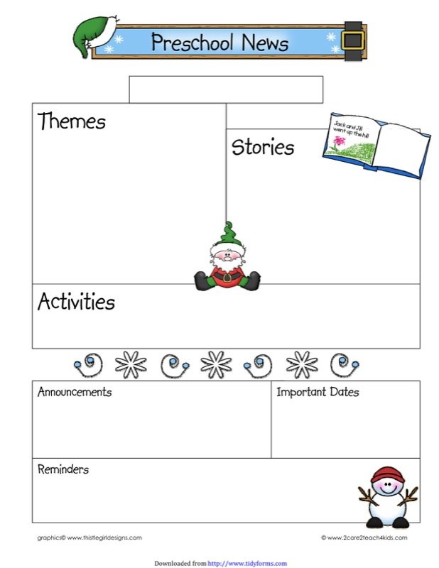 December Preschool Newsletter Template