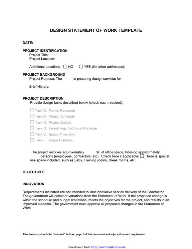 Design Statement of Work Template
