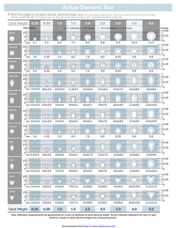 Download Diamond Size Chart  For Free  Tidyform