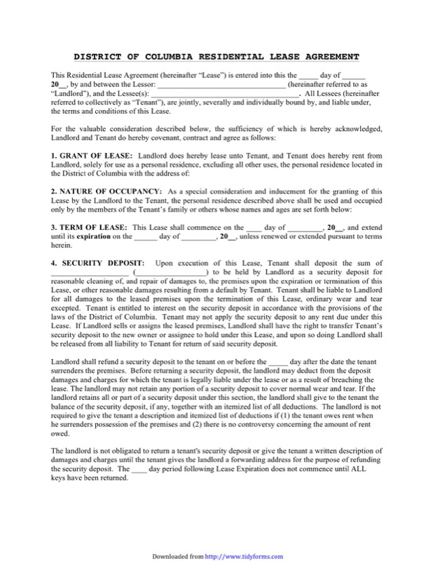 lease templates District of Columbia Rent and Lease Template - Free Templates in DOC ...