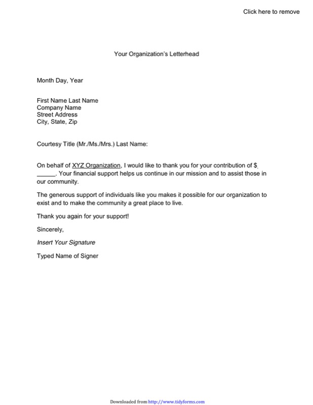Thank You Letter For Donation Templates  Free Templates In Doc Ppt