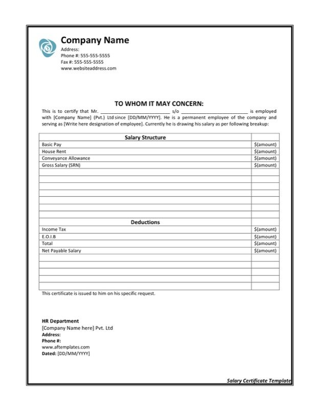Salary certificate templates free templates in doc ppt pdf xls download sample microsoft salary certificate template yelopaper Choice Image