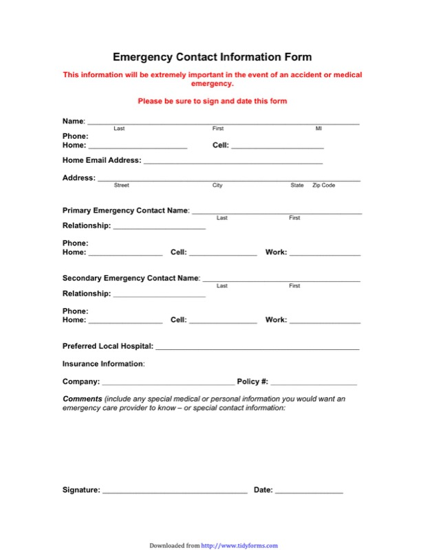 Emergency Contact Form Templates  Free Templates In Doc Ppt Pdf  Xls