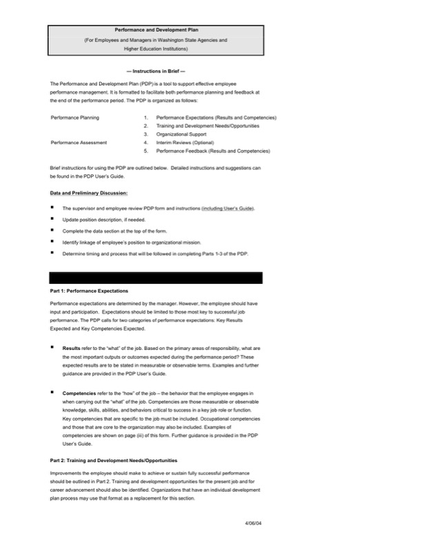 Employee Development And Performance Plan Free Word Template  Employee Development Plan Template Free
