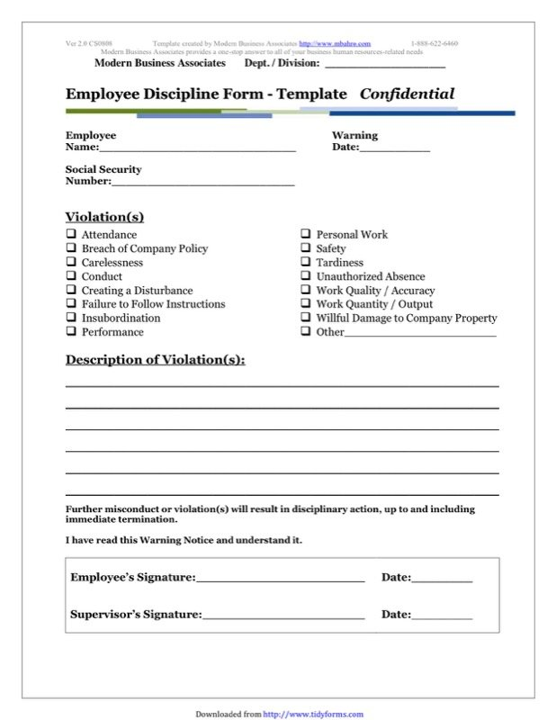 Employee Discipline Templates  Employee Termination Form Template Free