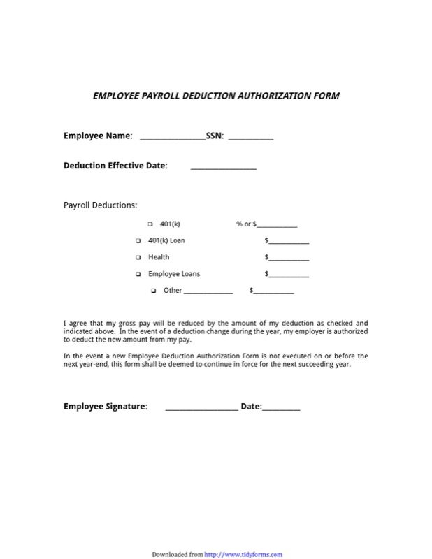 Payroll Deduction Form Templates  Free Templates In Doc Ppt Pdf  Xls