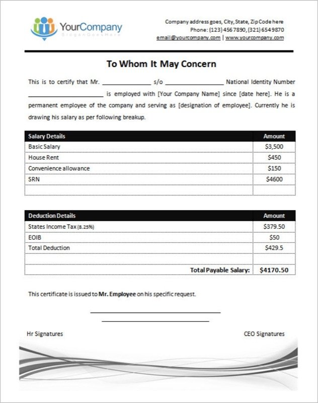 Salary certificate templates free templates in doc ppt pdf xls employee salary certificate template ms word yelopaper Images