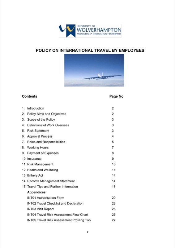 Travel Policy Templates  Free Templates In Doc Ppt Pdf  Xls