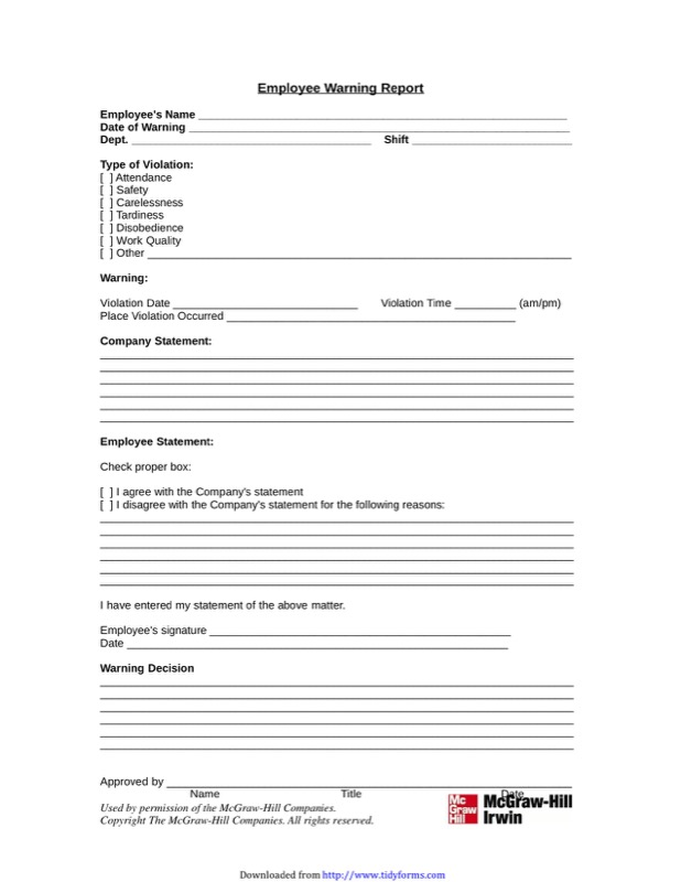 Employee Write Up Form Templates  Free Templates In Doc Ppt Pdf  Xls