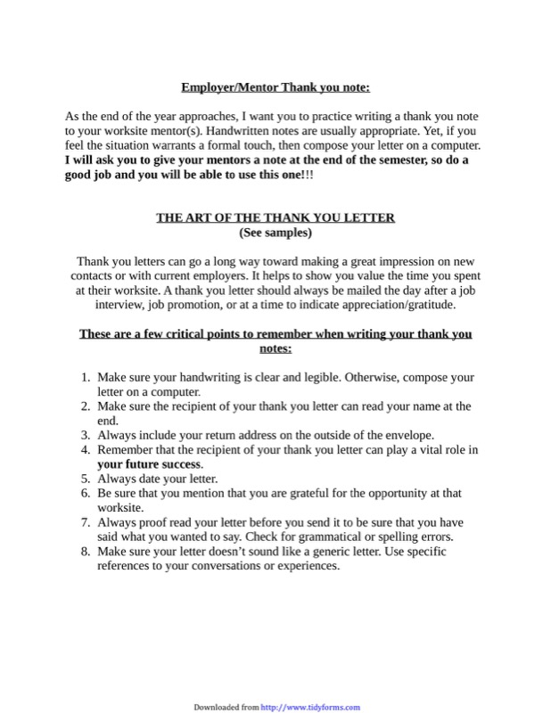 Thank You Employer Letter Choice Image  Letter Format Formal Sample
